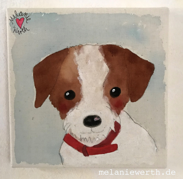 Kinderzimmerbild mit Hund, Hunderportrait, Illustration fuer Kinder
