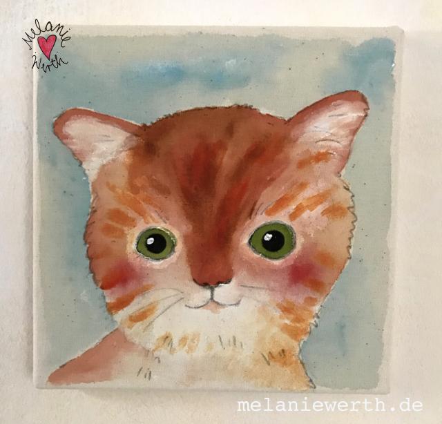 Kinderzimmerbild mit Katze, Illustration fuer Kinder