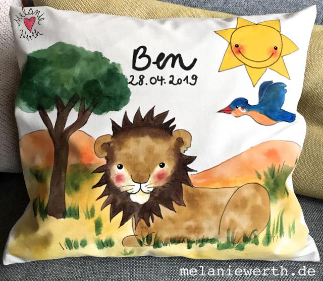 Geschenk Taufe für Jungen, Kissen zur Taufe, Löwe Sternzeichen Geschenk Kind, afrikanischer Löwe
