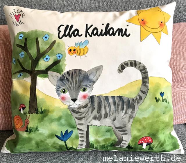 Kissen zur Geburt, Geschenk mit Taufspruch, Illustration Katze, Geschenk Katzenbild, Katze Bild Kinder
