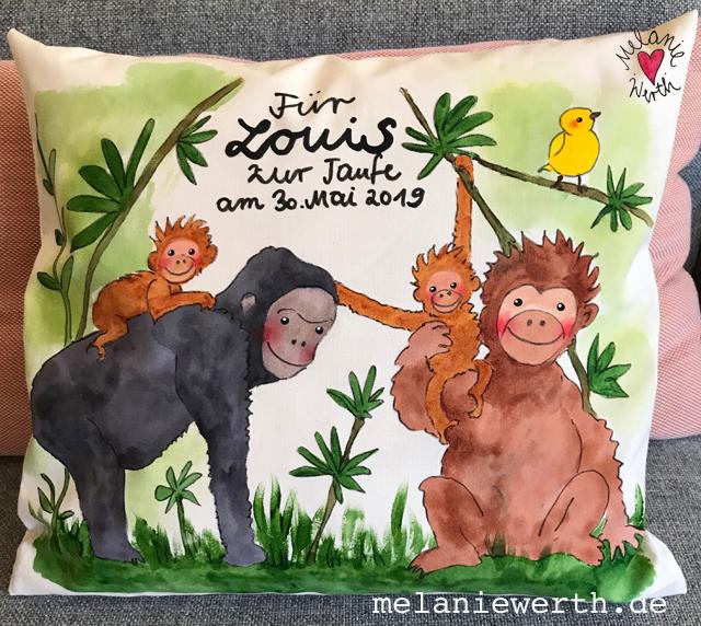 Affenfamilie, Kissen zur Taufe, Illustration für Kinder