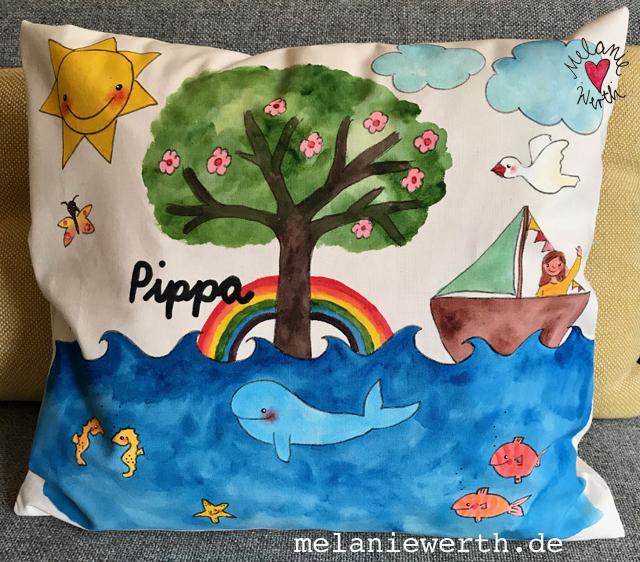 Kinderkissen, Kissen zur Taufe, Lebenbaum mit Wal, Segelboot und Möwe