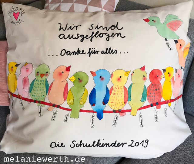 alle Vögel sind schon da, Abschiedsgeschenk Kindergarten, Kissenbezug als individuelles Geschenk
