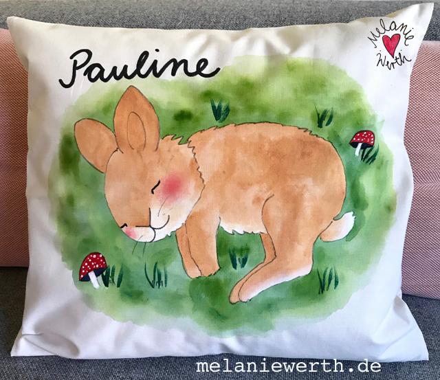 schlafenes Kaninchen, Kissen zur Geburt, Illustration für Kinder, Kissen zur Taufe, individuelles Geschenk Geburt, Geschenk Patenkind