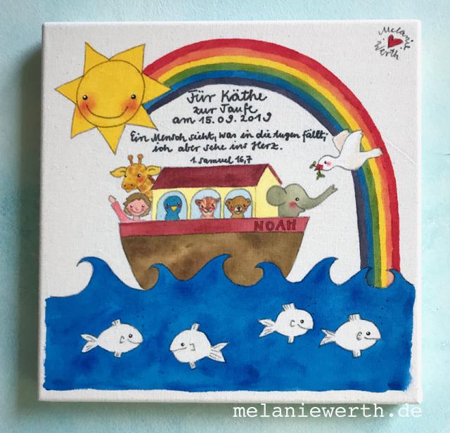 Arche Noah, Illustration für Kinder, Kinderzimmerbild zur Taufe