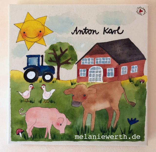 Kinderzimmerbild Bauernhof mit Kuh, Schwein und Hühnern, Illustration für Kinder