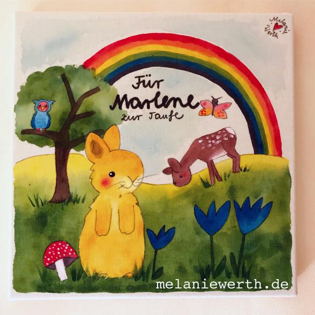 Kinderzimmerbild zur Taufe, Hase, Reh und Regenbogen