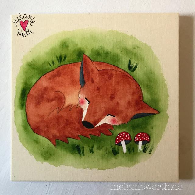 Kinderzimmerbild schlafender Fuchs, Geschenk zur Geburt, Bild zur Geburt