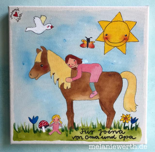 Geschenk Mädchen, Pferd mit Mädchen, Puppe und Taube, Kinderzimmerbild, Geschenk Kindergartenkind