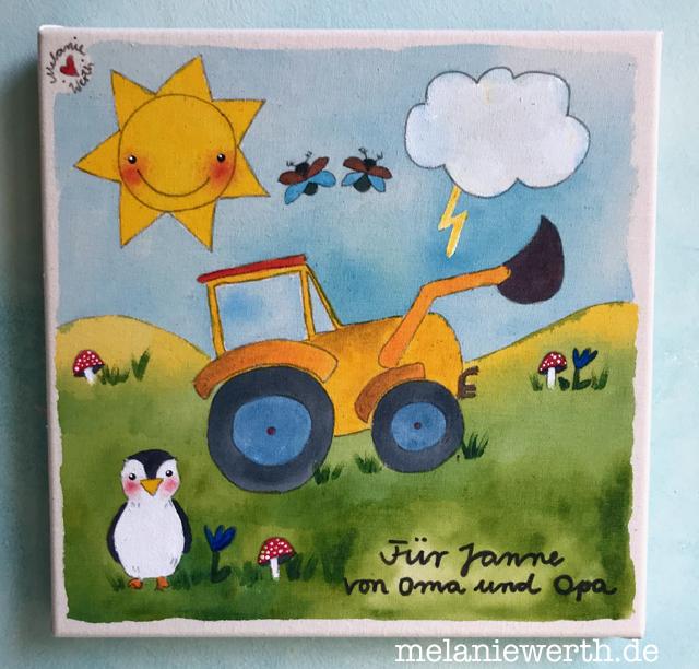Traktor mit Pinguin und Maikäfern, Kinderzimmerbild, Geschenk Kindergartenkind