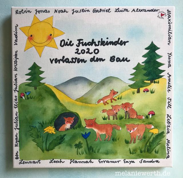 Abschiedsgeschenk Kindergarten, Bild mit Füchsen, Geschenk Erzieherinnen, Abschied Kindergarten