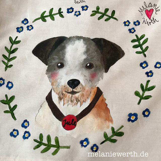 Andenken an einen verstorbenen Hund, Hundeportrait Kissenbezug handbemalt