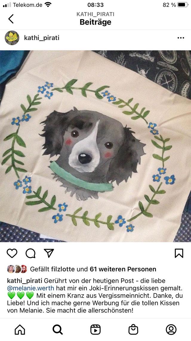 Erinnerung an verstorbenen Hund