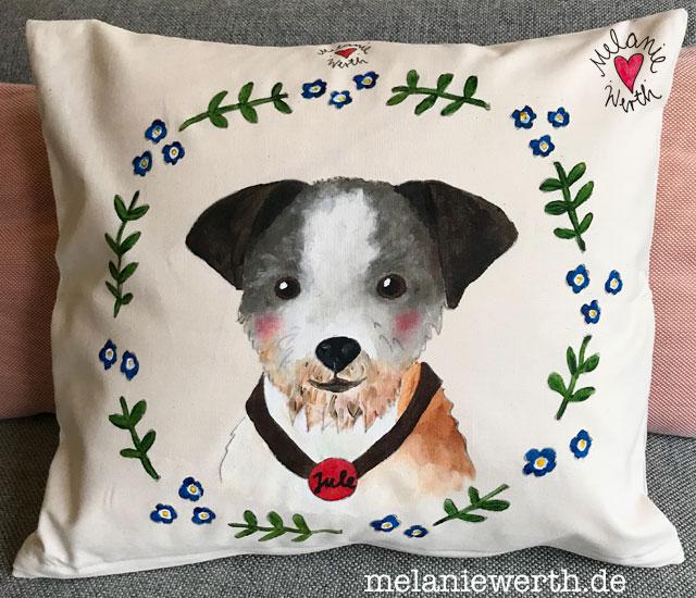 Hundeportrait Andenken an verstorbenen Hund, Gemälde Hund, Kissen individuell
