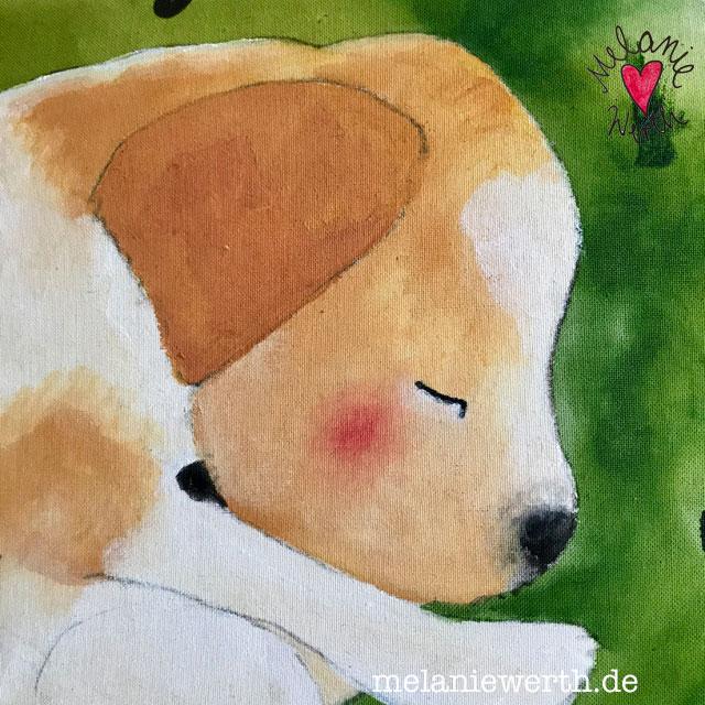 kleiner Welpe, Erinnerung an die Welpenzeit, Welpenbild, Hundeportrait individuell