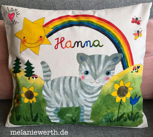 einzigartiges Geschenk zur Geburt, Regenbogenkatze, Kissen mit Namen