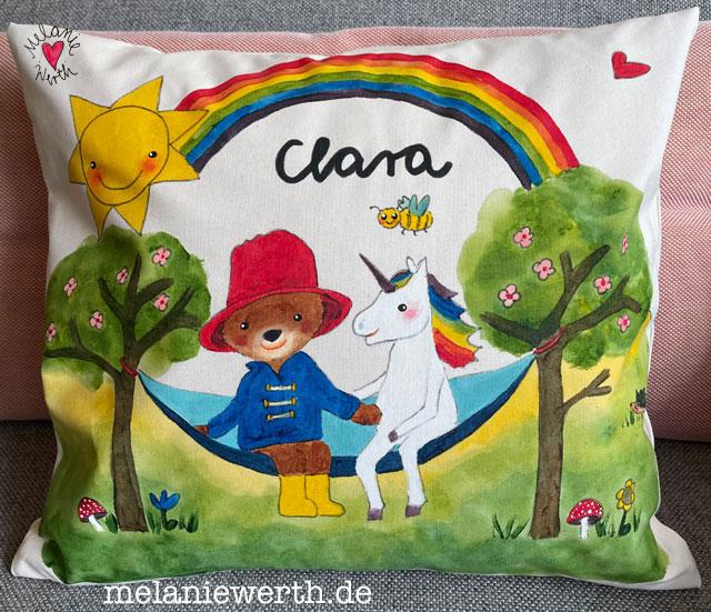 Geschenk zum Geburtstag Kindergartenkind, Bär und Einhorn auf der Hängematte
