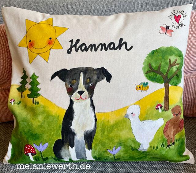 Hundeportrait, Seelenhund, Kissen mit Namen